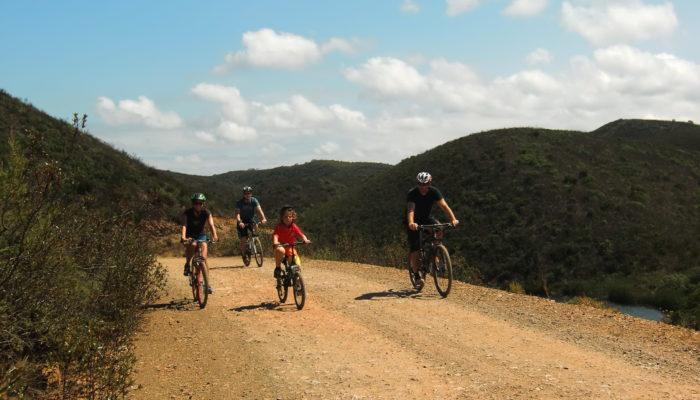 A bike route near a scenic lake in Algarve, Portugal